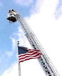 fire truck ladder and flag